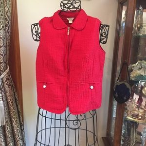 Christopher & banks red quilted vest